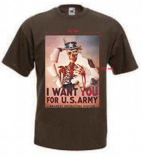 Tričko s potiskem I WANT YOU FOR U.S. ARMY (skeleton)