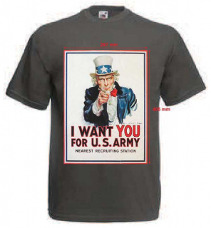 Tričko s potiskem I WANT YOU FOR U.S. ARMY